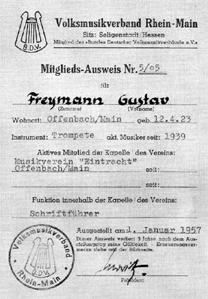 Ausweis zum Volksmusikverband unseres Mitgliedes Gustav Freymann